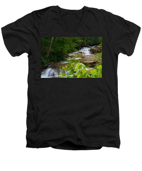 Men's V-Neck T-Shirt featuring the photograph Peaceful Stockbridge Falls  by Dave Files