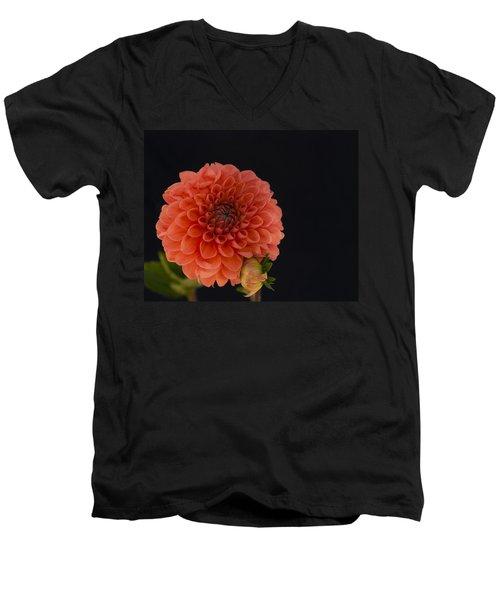 Peach Dahlia Men's V-Neck T-Shirt