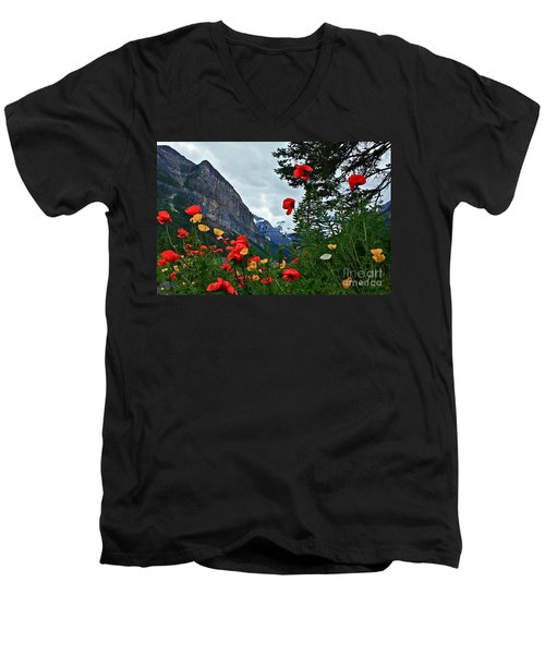 Peaks And Poppies Men's V-Neck T-Shirt