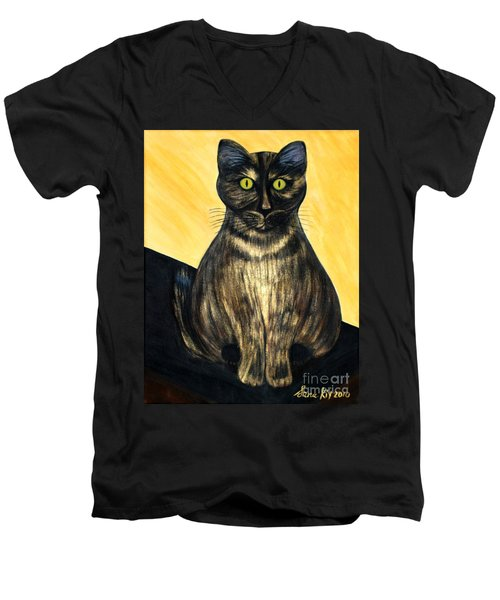 Men's V-Neck T-Shirt featuring the painting Pearl. Soul Collection by Oksana Semenchenko