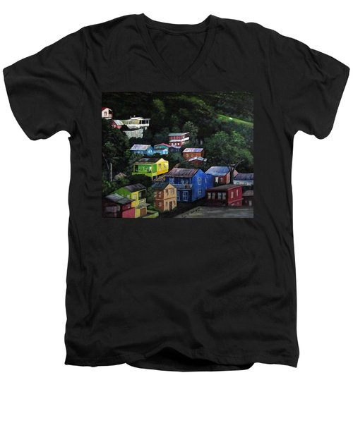 Pedazito De Yauco Cerro Men's V-Neck T-Shirt by Luis F Rodriguez