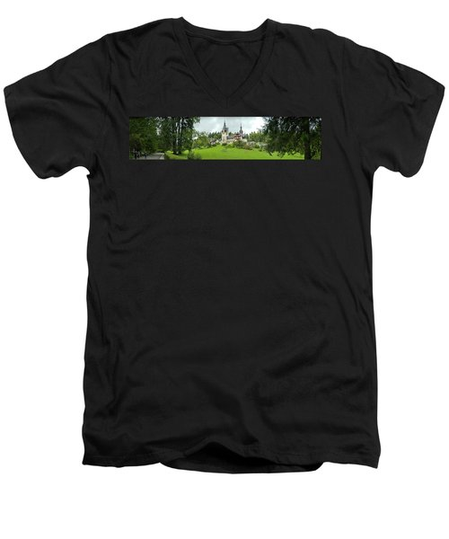 Peles Castle In The Carpathian Men's V-Neck T-Shirt by Panoramic Images
