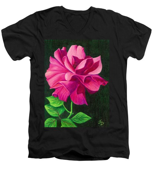 Men's V-Neck T-Shirt featuring the drawing Pencil Rose by Janice Dunbar