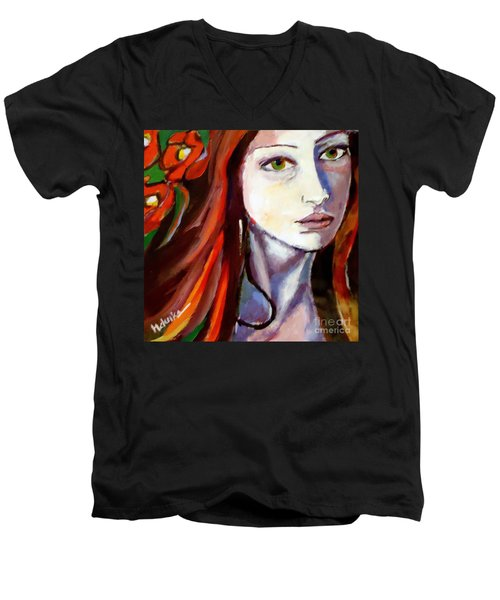Men's V-Neck T-Shirt featuring the painting Pensive Lady by Helena Wierzbicki