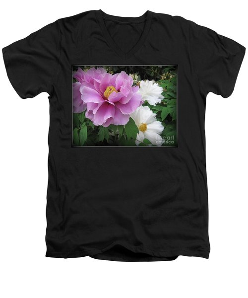 Peonies In White And Lavender Men's V-Neck T-Shirt by Dora Sofia Caputo Photographic Art and Design