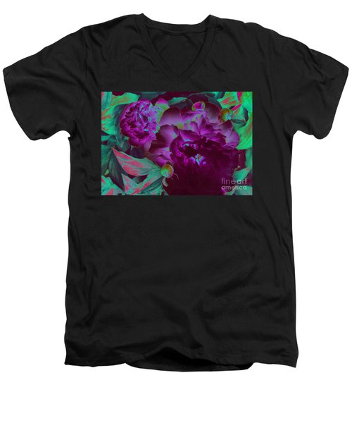 Peony Passion Men's V-Neck T-Shirt