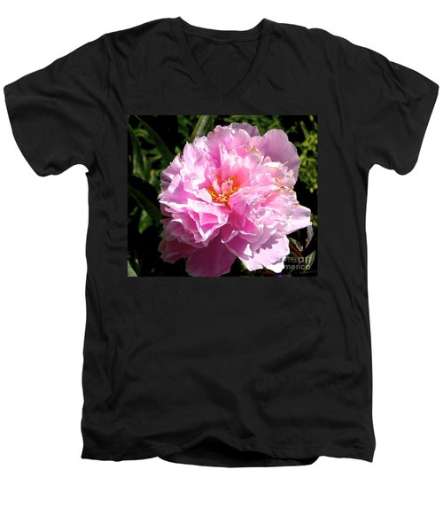 Men's V-Neck T-Shirt featuring the photograph Peony by Sher Nasser