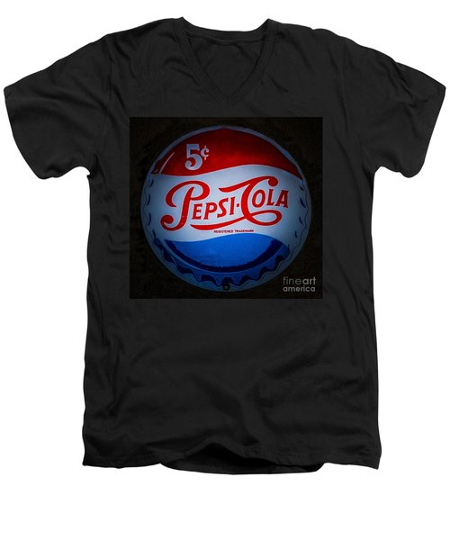 Men's V-Neck T-Shirt featuring the photograph Pepsi Cap Sign by Mitch Shindelbower