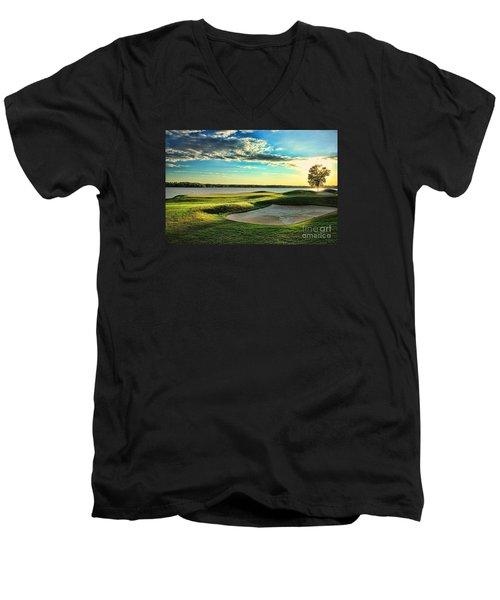 Perfect Golf Sunset Men's V-Neck T-Shirt by Reid Callaway