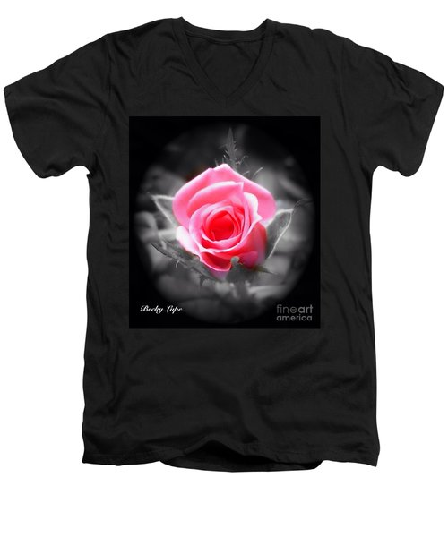Perfect Rosebud In Black Men's V-Neck T-Shirt