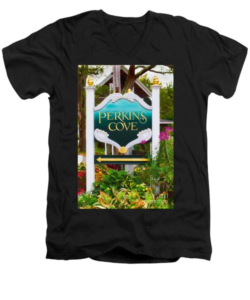 Perkins Cove Sign Men's V-Neck T-Shirt by Jerry Fornarotto