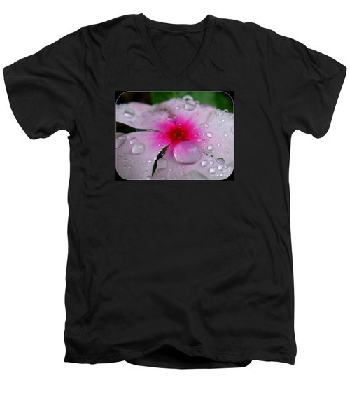 Men's V-Neck T-Shirt featuring the photograph Petal Surfing by Patti Whitten