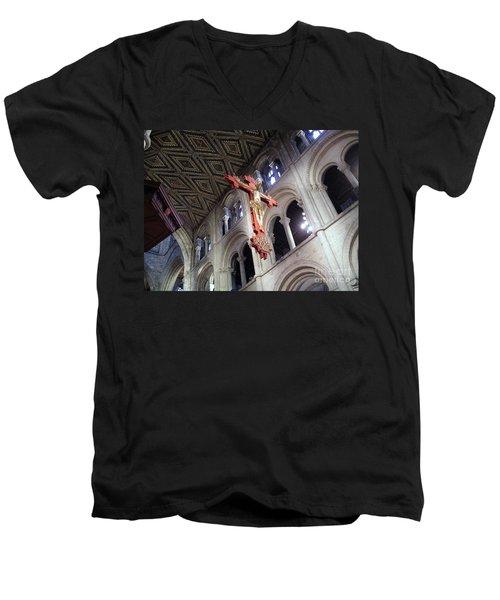 Men's V-Neck T-Shirt featuring the photograph Peterborough Cathedral England by Jolanta Anna Karolska