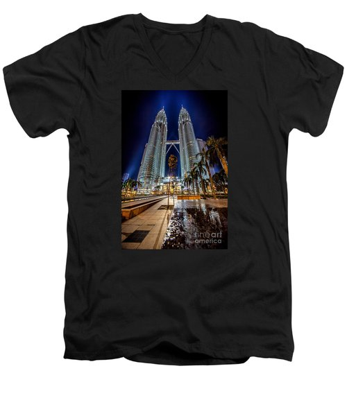 Petronas Twin Towers Men's V-Neck T-Shirt by Adrian Evans