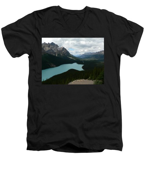 Men's V-Neck T-Shirt featuring the photograph Peyote Lake In Banff Alberta by Laurel Best