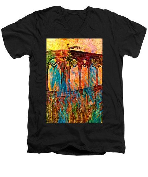 Phantom Fires Men's V-Neck T-Shirt by Ally  White