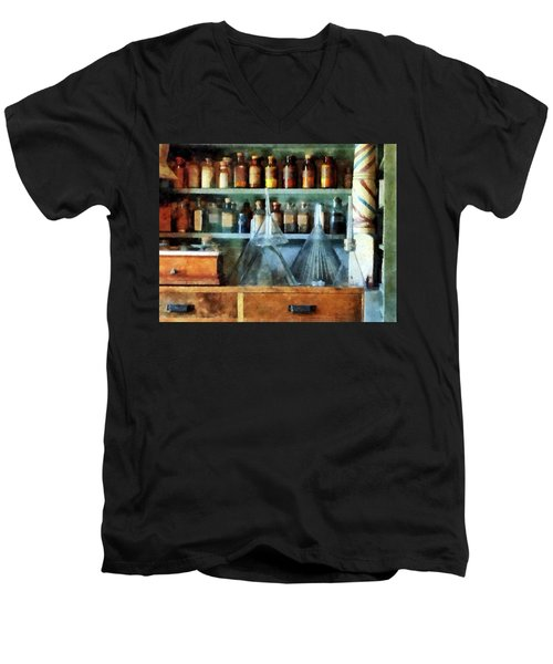 Pharmacist - Glass Funnels And Barber Pole Men's V-Neck T-Shirt by Susan Savad