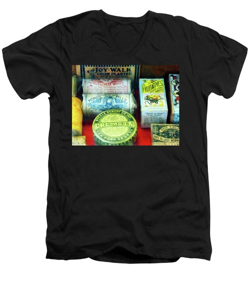 Pharmacy - For Aches And Pains Men's V-Neck T-Shirt by Susan Savad