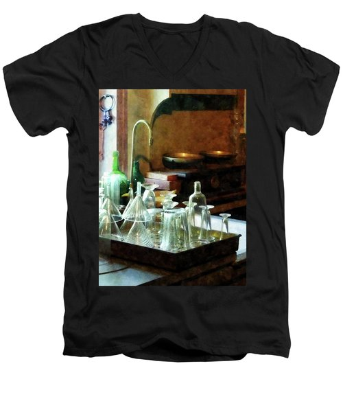 Pharmacy - Glass Funnels And Bottles Men's V-Neck T-Shirt by Susan Savad