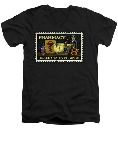 Pharmacy Stamp With Bowl Of Hygeia Men's V-Neck T-Shirt by Phil Cardamone