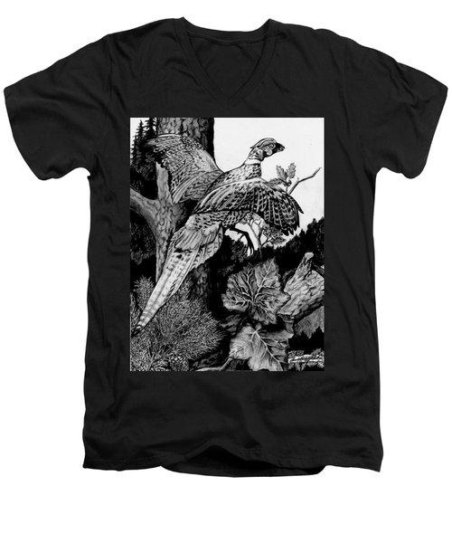 Pheasant In Flight Men's V-Neck T-Shirt