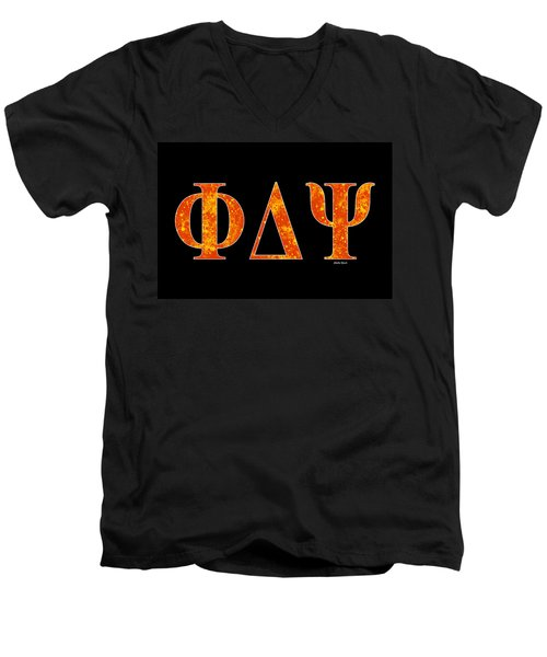 Men's V-Neck T-Shirt featuring the digital art Phi Delta Psi - Black by Stephen Younts