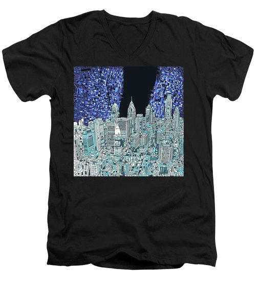Philadelphia Map Panorama Men's V-Neck T-Shirt