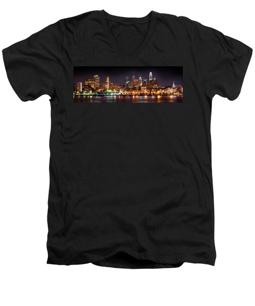 Philadelphia Philly Skyline At Night From East Color Men's V-Neck T-Shirt by Jon Holiday