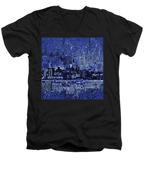 Philadelphia Skyline Abstract 2 Men's V-Neck T-Shirt