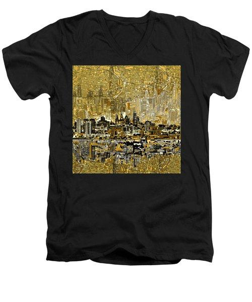 Philadelphia Skyline Abstract 3 Men's V-Neck T-Shirt