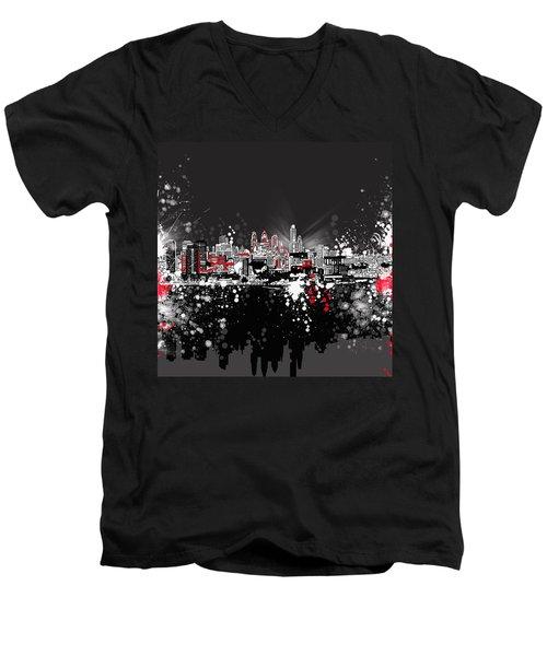 Philadelphia Skyline Abstract 5 Men's V-Neck T-Shirt