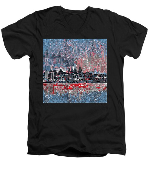 Philadelphia Skyline Abstract Men's V-Neck T-Shirt