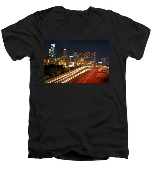 Philadelphia Skyline At Night In Color Car Light Trails Men's V-Neck T-Shirt