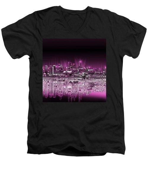 Philadelphia Skyline  Gradient 2 Men's V-Neck T-Shirt