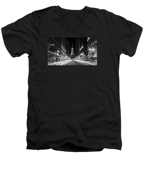 Philadephia City Hall -- Black And White Men's V-Neck T-Shirt
