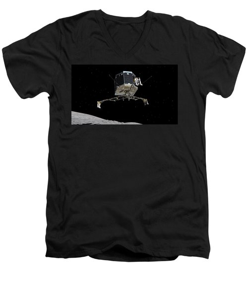 Men's V-Neck T-Shirt featuring the photograph Philae Lander Descending To Comet 67pc-g by Science Source
