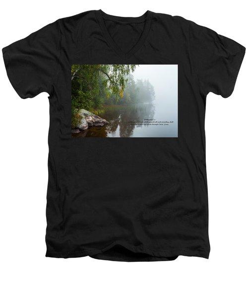 Philippians 4 Verse 7 Men's V-Neck T-Shirt by Rose-Maries Pictures