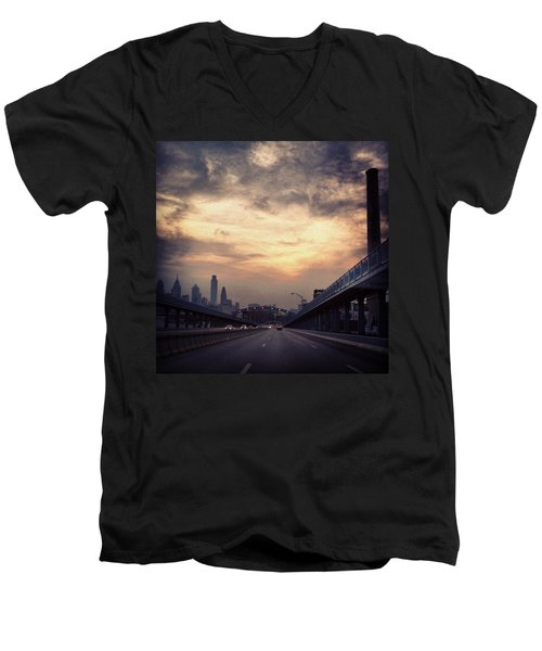 Philly Men's V-Neck T-Shirt by Katie Cupcakes