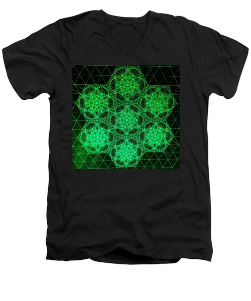 Men's V-Neck T-Shirt featuring the drawing Photon Interference Fractal by Jason Padgett