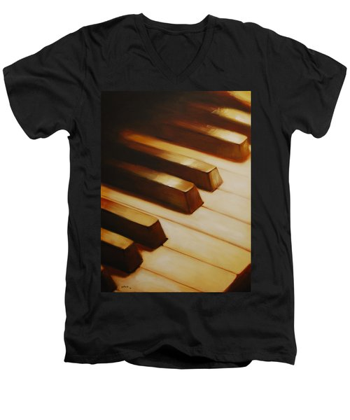 Piano Men's V-Neck T-Shirt
