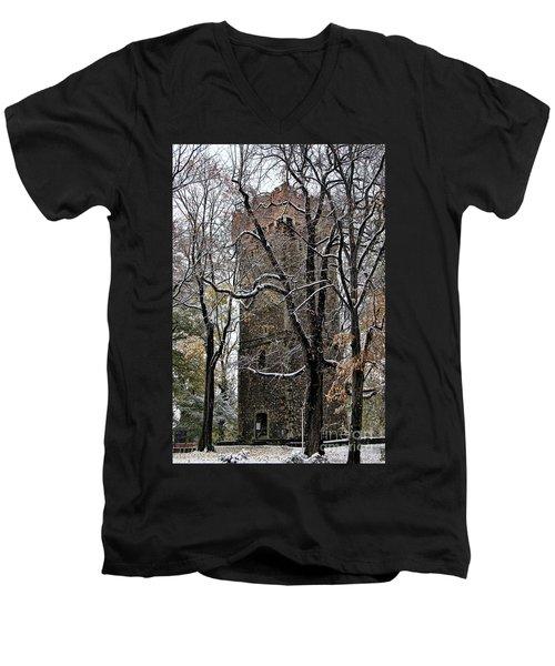 Piastowska Tower In Cieszyn Men's V-Neck T-Shirt by Mariola Bitner