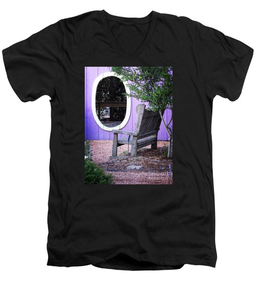 Men's V-Neck T-Shirt featuring the photograph Picture Perfect Garden Bench by Ella Kaye Dickey