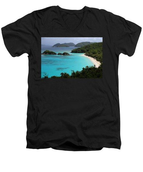 Piece Of Paradise Men's V-Neck T-Shirt by Fiona Kennard