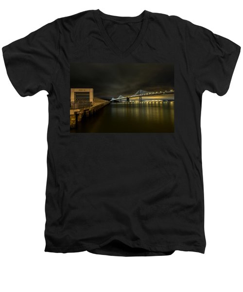 Pier 14 And Bay Bridge At Night Men's V-Neck T-Shirt