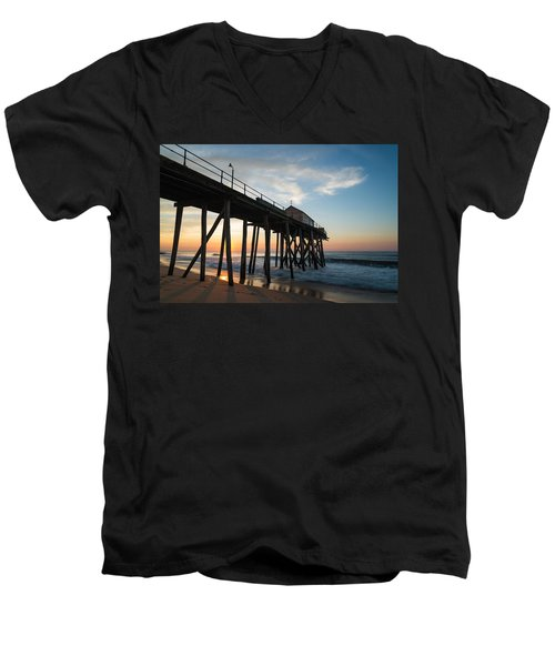 Men's V-Neck T-Shirt featuring the photograph Pier Side by Kristopher Schoenleber