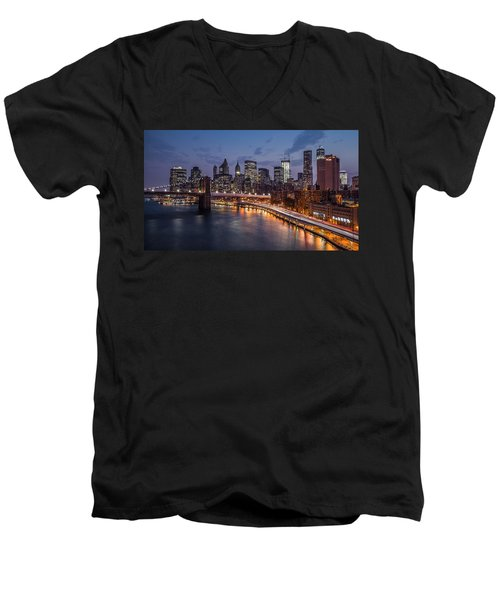 Men's V-Neck T-Shirt featuring the photograph Piercing Manhattan by Mihai Andritoiu