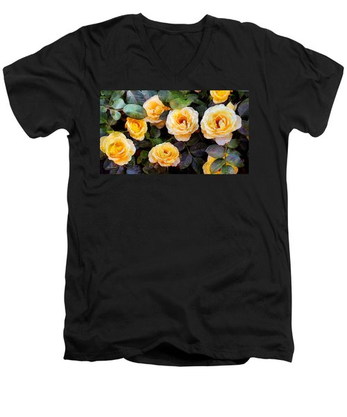 Pierre's Peach Roses Men's V-Neck T-Shirt
