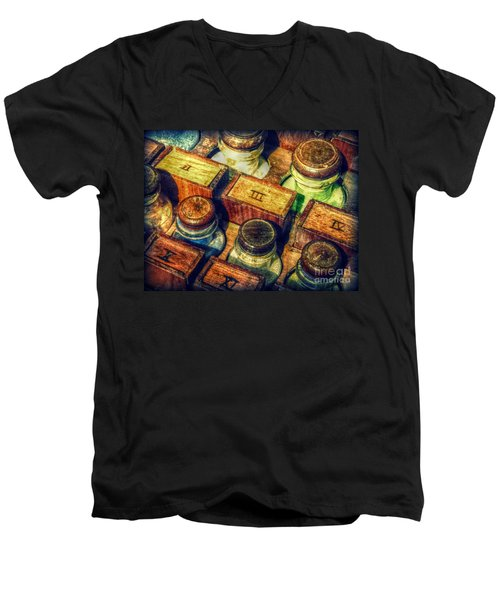 Men's V-Neck T-Shirt featuring the digital art Pigments by Valerie Reeves