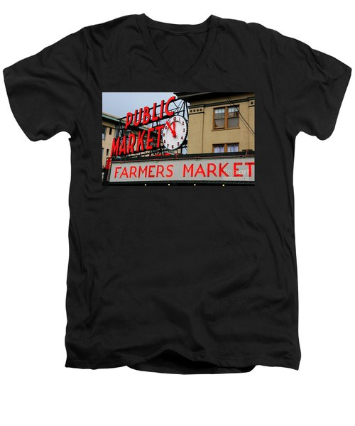 Pike Place Farmers Market Sign Men's V-Neck T-Shirt