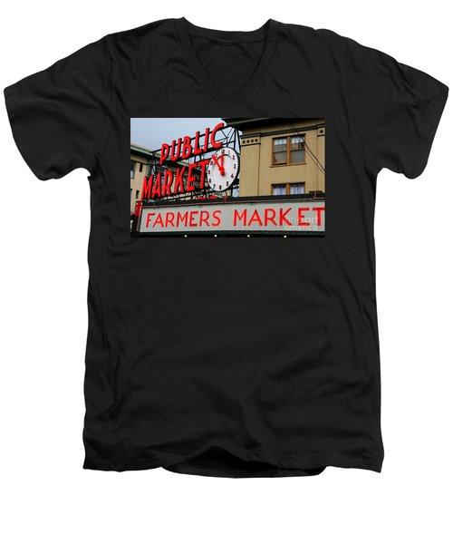 Pike Place Farmers Market Sign Men's V-Neck T-Shirt